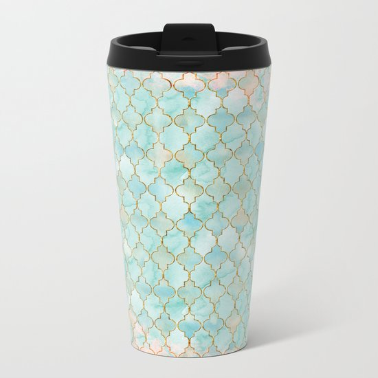 Luxury Aqua and Pink and Gold oriental pattern Metal Travel Mug