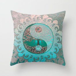 Pretty Chic Teal Tree of Life with Yin Yang and Heart Throw Pillow