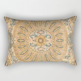 Louvre Fame Carpet // 16th Century Sunflower Yellow Blue Gold Colorful Ornate Accent Rug Pattern Rectangular Pillow