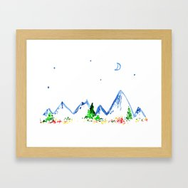 Mountains || watercolor Framed Art Print
