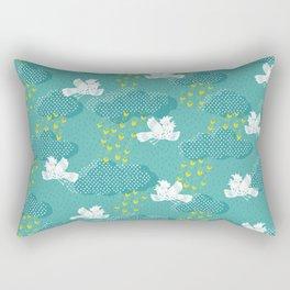 Rain Birds - Teal Rectangular Pillow
