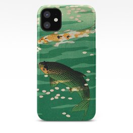 Vintage Japanese Woodblock Print Asian Art Koi Pond Fish Turquoise Green Water Cherry Blossom iPhone Case