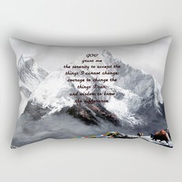 Serenity Prayer With Panoramic View Of Everest Mountain Rectangular Pillow