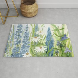 Watercolor Botanical Garden Flower Wildflower Blue Flower Garden Rug