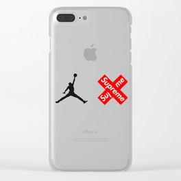 great man air jordan  supreme logo Clear iPhone Case