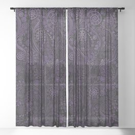 Violet 3D Psychedelic Ornaments Sheer Curtain