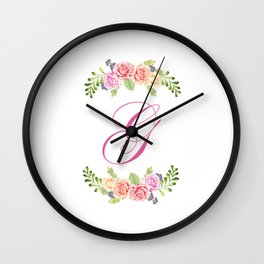 Floral Initial Letter G Wall Clock