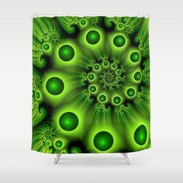 Green Fractal, Modern Spiral With Depth Shower Curtain