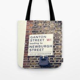 London street sign Tote Bag