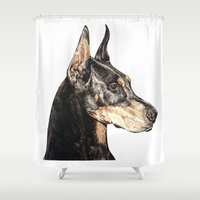 doberman Shower Curtains featuring Doberman Pinscher dog by Natt