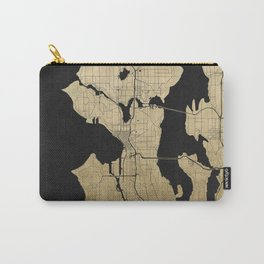 Seattle Black and Gold Street Map Carry-All Pouch