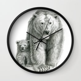 Polar bear and cub SK041 Wall Clock