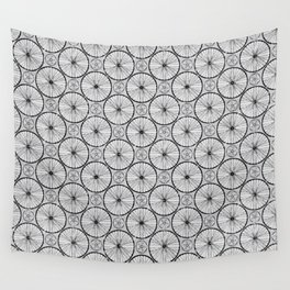 Bicycle Wheels Cycling Pattern - Grey Black Wall Tapestry