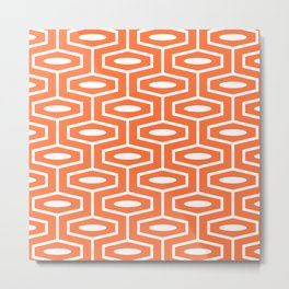 Geometric Ogee Pattern 136 Orange Metal Print