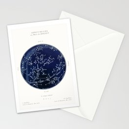 French July Star Maps in Deep Navy & Black, Astronomy, Constellation, Celestial Stationery Cards