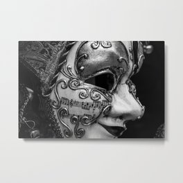 Close-up of a Venetian carnival mask with black and silver white ornaments Metal Print