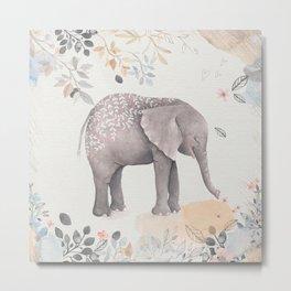 Floral Fantasy Elephant Metal Print