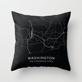 Washington State Road Map Throw Pillow