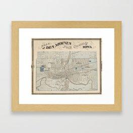 Vintage Map of Des Moines IA (1875) Framed Art Print