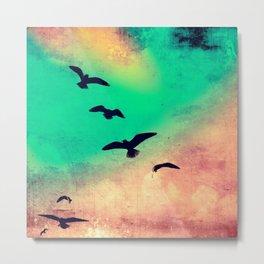 Gulls In Flight Metal Print