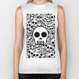 Skull Texture Black White Surface Biker Tank