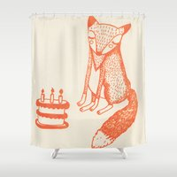 mr fox Shower Curtains featuring Mr Fox by Sally Darby Illustration