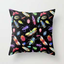 Rainbow Insects on Black, Pattern Throw Pillow