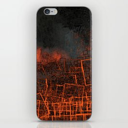 Urban landscape geometric structure rubble illustration iPhone Skin