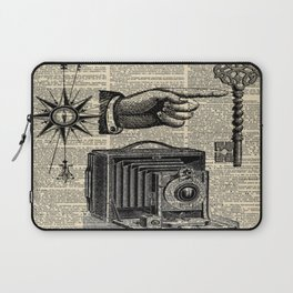nautical compass dictionary print steampunk skeleton keys antique camera Laptop Sleeve