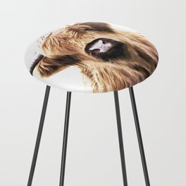 Highland Cow Portrait Counter Stool