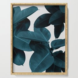 Indigo Blue Plant Leaves Serving Tray