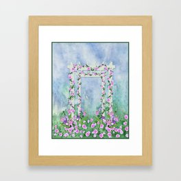 Garden Arbor with Pink and Lavender Flowers Framed Art Print