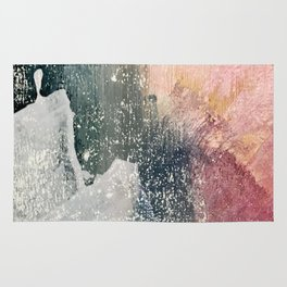 Reckless [6]: a colorful, abstract mixed-media piece in pinks, blues, white and gold Rug
