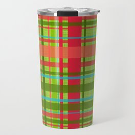 Green Rind Plaid Travel Mug