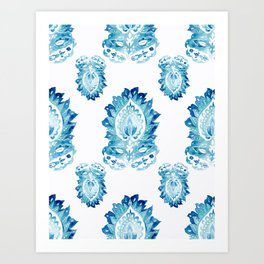 Blue Paisley Watercolor Motif Art Print
