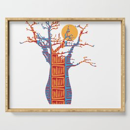 African Baobab tree of life at Sunset Serving Tray