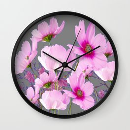 RADIANT PINK-FUCHSIA COSMO GREY ART Wall Clock