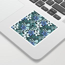 Tropical Floral Aqua Sticker