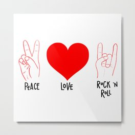 Peace Love Rock 'n Roll Metal Print