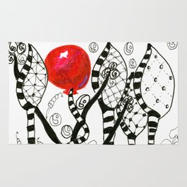 Pop of Color, Red Balloon Zendoodle in Fanciful Forest Rug
