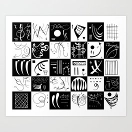 Kandinsky - Black and White Pattern - Abstract Art Art Print