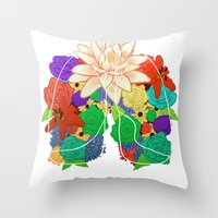 lungs Throw Pillows featuring lungs by Taylor {GANGST★R}