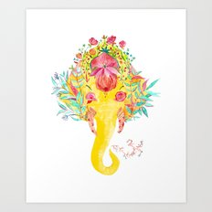 Floral Ganesha Art Print
