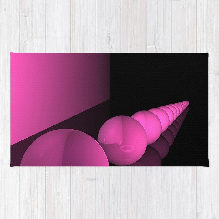 pink geometry Rug