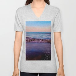 beach sunset with beautiful blue cloudy sky and blue wave in summer Unisex V-Neck