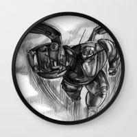big hero 6 Wall Clocks featuring Baymax Big Hero 6 by VivianLohArts
