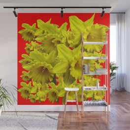 YELLOW SPRING DAFFODILS ON CHINESE RED ART Wall Mural