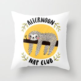 Afternoon Nap Club Sloth Throw Pillow