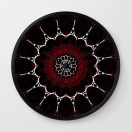 Deep Ruby Red Mandala Design Wall Clock