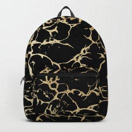 Stylish black faux gold foil elegant marble Backpack